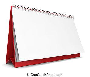 Blank calendar. 3d illustration on white background