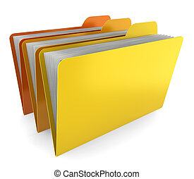 Three folders 3d illustration on white background