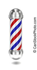 Barber pole 3d illustration on white background