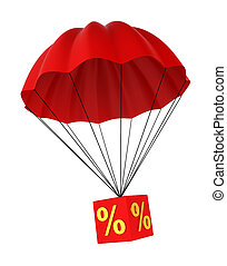 Parachute with a discount sign. 3d illustration on white...