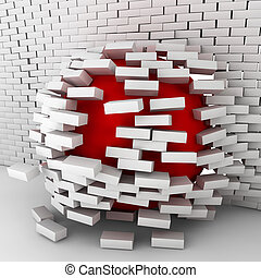 Red ball moving through brick wall. 3d illustration