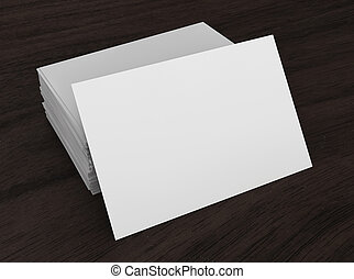 Blank business cards. 3d illustration on wooden background