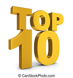 Top ten 3d illustration on white background