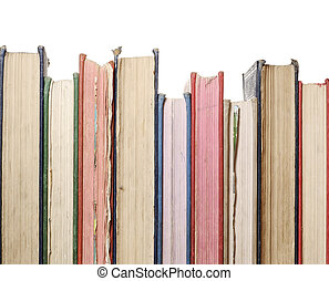 row of old books - a close up row of books isolated against...