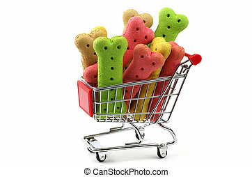 colored dog biscuits shopping cart - shopping cart full of...