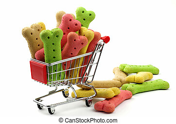 dog biscuits and shopping trolley - colored dog biscuits and...