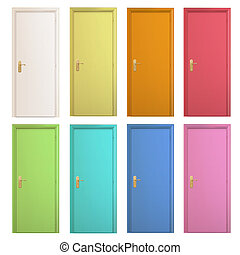 Collection of colorful doors. Vector design.