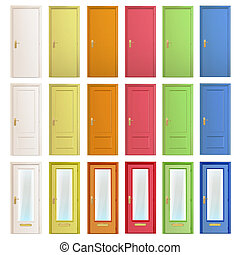 Big collection of colorful doors. Vector design.