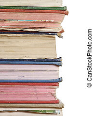 stack of books close up - a close up stack of books isolated...