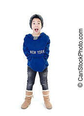Little  asian boy with surprise face wearing winter clothes