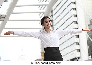 Happy business woman sucess with stretch the arms - Photo of...