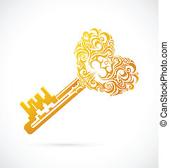 Cartoon key with heart - Vector illustration of key from the...