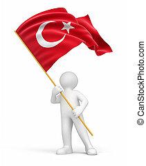 Man and Turkish flag