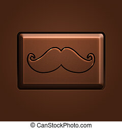 Chocolate Mustache Icon, piece of chocolate, illustration