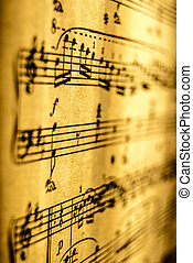 Sheet Music, vintage, close up