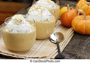 Three Pumpkin Smoothies - Three fresh Pumpkin Smoothies...