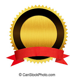 金, シール, メダル, 赤, リボン, 隔離された
