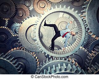 heavy duty - business man near to fall inside of metal gear