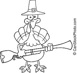 Black and White Pilgrim Turkey Bird