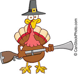 Pilgrim Turkey Bird With A Musket