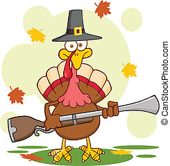 Pilgrim Turkey Bird With A Musket - Pilgrim Turkey Bird...
