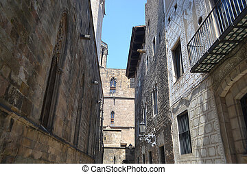 Street in the Gothic Quarter of Barcelona.
