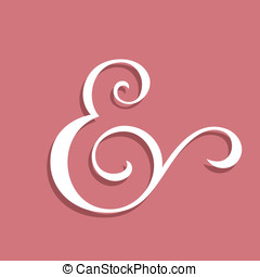 Wedding text decoration ampersand Custom ampersand on pink...