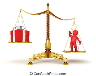 Justice Balance with gift and man - Justice Balance with...