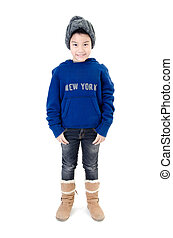 Little  asian smile  boy wearing winter clothes