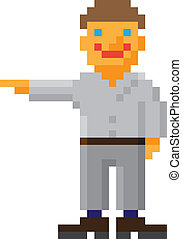 Vector pixel art style man with pointing hand gesture