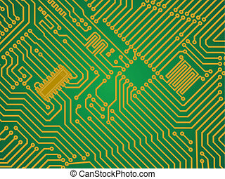 Hi-tech green industry electronics vector background