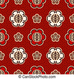 chinese quot;shouquot; character pattern - seamless chinese...