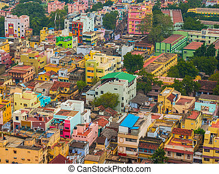 Colorful homes in crowded Indian city Trichy, Tamil Nadu -...