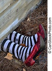 Fate of a bad bad witch - Halloween decorations of a house...