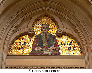 shakespeare - gold mosaic of shakespeare displayed in...