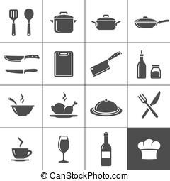 Restaurant kitchen icons - Restaurant kitchen and cooking...