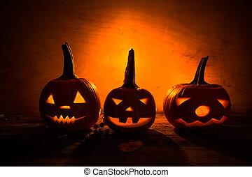 Halloween pumpkin lanterns dark light angry face fall