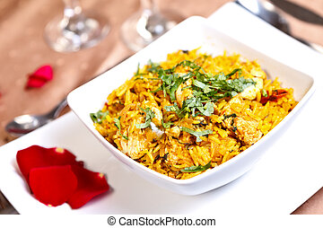 Asian food - Biriyani - Aromatic pilaf with roasted spices,...