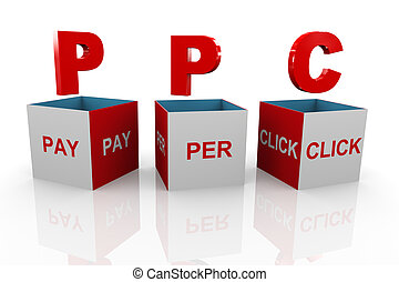3d box of ppc - pay per click - 3d illustration of acronym...