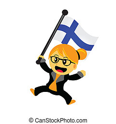 cartoon woman bring flag - illustrasion vector graphic of...