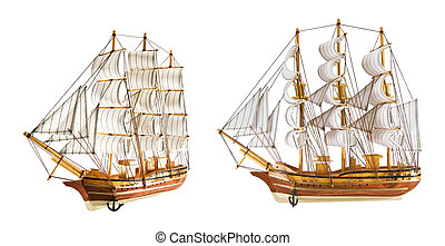frigates - two frigates is isolated on a white background