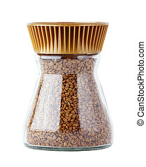 instant coffee in glass jar isolated