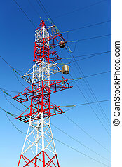 Electricity pylon on blue sky background