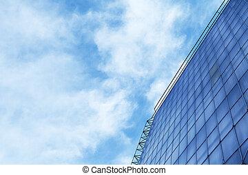 edificio, azul, moderno, cielo