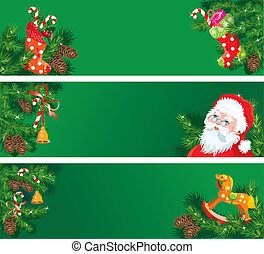 Set of Christmas and New Year horizontal banners with fir tree branches, mistletoe, bell and horse toy