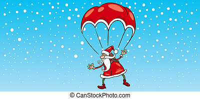 santa claus on parachute greeting card - Greeting Card...