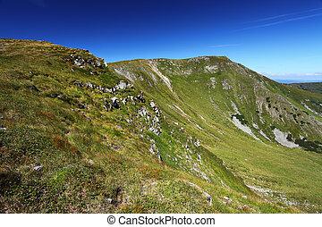 azul, montanhas, céu, verde, fundo