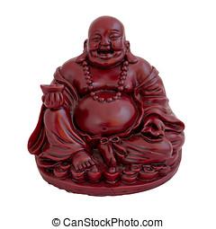 Buddha statuette - Statuette of smiling sitting Buddha...