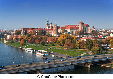 Krakow Skyline with Wawel Castle in Fall - Panorama of...