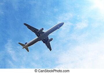 azul, avión, cielo